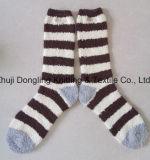 Microfiber Women Cozy Socks with Stripe Non Slip Socks