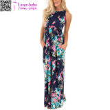 Navy Floral Print Racerback Maxi Dress with Side Pockets L51418
