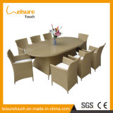 Classic Design PE Rattan Outdoor Furniture Dining Chair Table Set with Glass