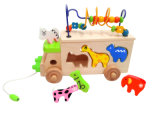 Wooden Multifunction Beads and Animal Bus Toy for Toddler