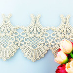 High Quality New Design Stock Wholesale 8.5cm Width Jacquard Fabric Embroidery Water Soluable Lace Trim for Garments & Home Textiles & Curtains
