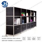 Mulity Layers with Drawers Black Wood with Stainless Steel Frame Filing Cabinet