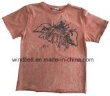 Garment Snow Wash Cotton Single Jerey T-Shirt for Boy with Water Ink Print