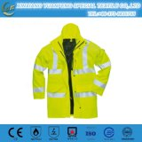 High Visibility PU Waterproof Breathable Casual Mens Plain Reflective Safety Rain Jacket
