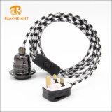 UK 3 Pin Plug Textile Cord Set with Lamp Holder