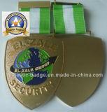 Customized Gold Plating Ribbon Badge & Green and White Ribbon (MJ-Badge-010)