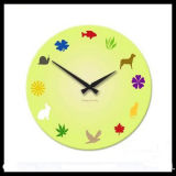 Green Colored Tempered Glass Wall Clock