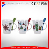 Coffee Mug with Spoon, Ceramic Mug with Spoon in Handle