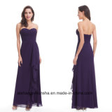 Women Elegant Strapless Long Sexy Chiffon Evening Dress