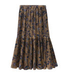 All-Match High Waist Printed Slim Middle Skirt with Pleated