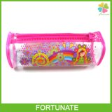 Round Plastic PVC Pencil Bag with Piping for Stationery