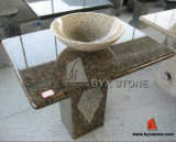 Baltic Brown Kitchen / Bathroom Vanity Top with Yellow Granite Sink