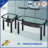 Leather Cover Top Glass Coffee Table Sets
