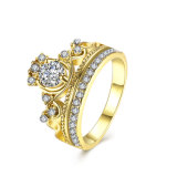 Fashion Zinc Alloy Gold Ring Round Zircon Finger Ring Gold Plated Design for Women