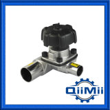 Sanitary Ss Manual Tee Type Diaphragm Valve Vdt Weld/Clamp/Thread