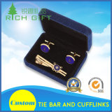 Custom Logo Cufflinks & Tie Bar Set with Velvet Gift Box