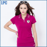 Factory High Quality Fashion Women High Collar Polo Tshirt