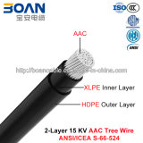 Tree Wire Cable 15 Kv 2-Layer AAC, AAC/XLPE/HDPE (ANSI/ICEA S-66-524)