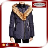 2016 Ladies Navy Long Padded Winter Coat with Heart-Shaped Fur