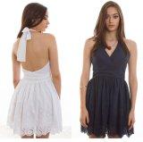 2015 New 100% Cotton Women Surplice Embroidery Evening Dress
