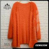 Women Loose Warm Abstract Patterned Orange Sweater