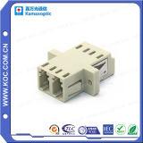 LC Beige Duplex Fiber Optical Adapter with Flange