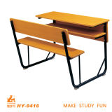 Cheaper Wood Double Desk and Chair Seat for High School Students