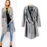European Style Casual Winter Women Long Knit Coat with Belt