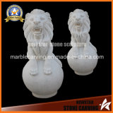 White Marble Stone Carving Lion Animal Sculptures for Garden Sculpture