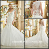 Mermaid V-Neck Bridal Gowns Lace Tulle Sheer Back Wedding Dress 2017 Mrl2882