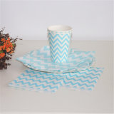 Light Blue Striped Paper Plate and Cup for Decoration