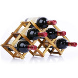 6 Bottle Wooden Wine Rack Wine Holder with Foldable