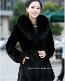 2015 Classic Black Real Kink Fur Coat Qy-C6