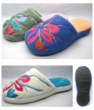 Soft Bottom Lovely Indoor Color Plaid Muffler Cotton Slippers (25ta7058)