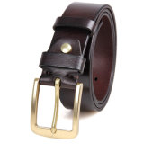 Factory Price Vintage Italy Leather Belt Brass Buckle Real Leather Belt for Men