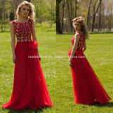 Red Ladies Party Dress A-Line Applique Chiffon Evening Prom Dresses Y2026