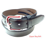 Hot-Sale Novel Design Man Leather Belt with Zipper Bag