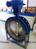 Metal Seal Triple Eccentric Flange Butterfly Valve with Gearbox