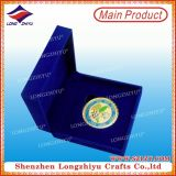 Soft Enamel Double Sided Design Gold Challenge Coin with Blue Velvet Box