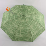 Printed Fabric Auto Open 3 Folding Umbrella (YS-3F3003A)