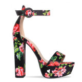 Wholesale Fashion Rough High Heel Rose Bandage Embroidered Sandals Shoes