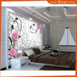 High Quality Living Room 3D Oil Painting Pink Flower Wall Paper