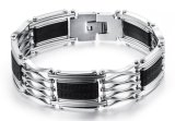 Hot Mens Titanium Steel Bracelet Silver Color Black Silicone Stainless Steel Bracelet for Men Baggle Cuff Jewelry Whoesale