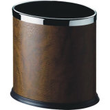 Hotel Oval Shape Waste Dustbin Covered with Leatherette for Sale