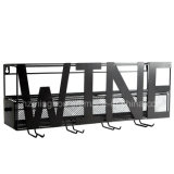 Decorative Metal Wall Mounted Wine Rack with Glass Holder