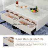 Stylish Wave Design Wooden Marble Coffee Table
