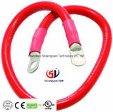 "Red 3/8"" Stud 24"" Long 2-Gauge Marine Battery Cable and Lug Assembly Tinned"