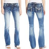 Custom Fashion Hot Women Bootcut Wash Denim Cotton Jeans
