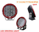 "Red/Black Round 105W 9"" Super Bright IP68 Waterproof CREE LED Work Light"