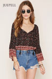 OEM Fashion Floral Bell-Sleeve Blouse